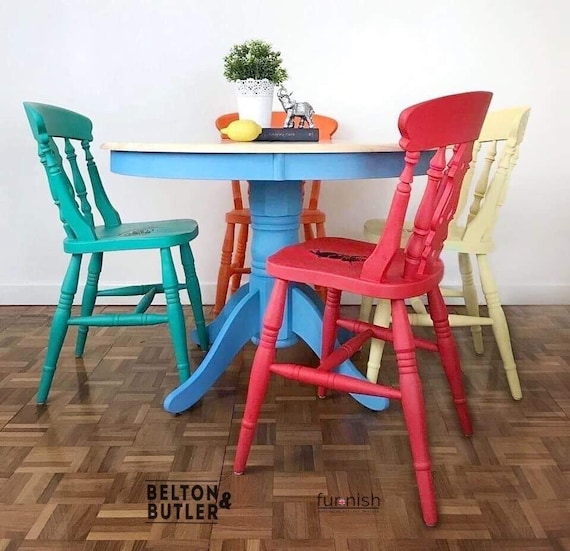 Super Bright Multi Coloured Dining Table And Chair Set Alice In Wonderland Table And Four Chair Set Creativecarmelina Interior Chair Design Creativecarmelinacom