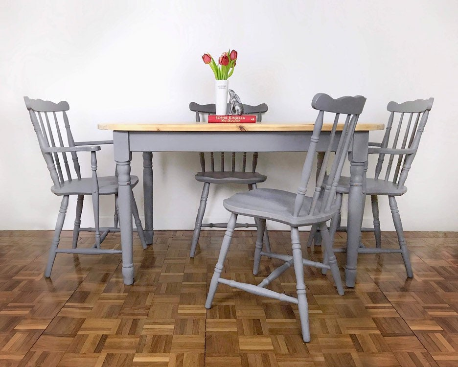 Solid Pine Mid Grey Dining Table and Four Chair Set. Country Kitchen Table  and Four Chair Set