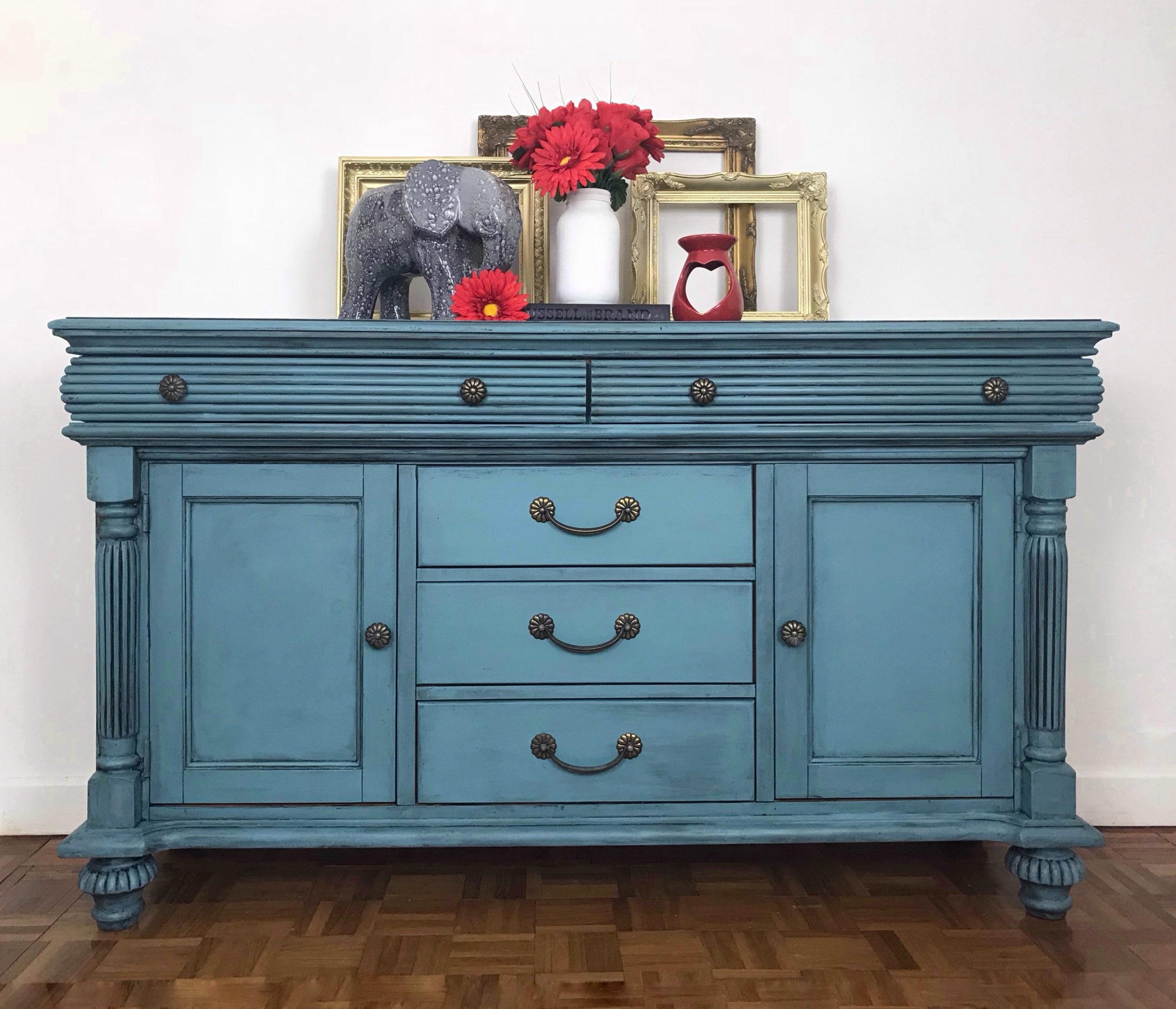 Blue sideboard painted furniture storage hallway cupboard