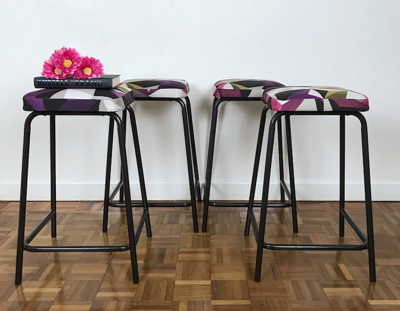 Miraculous Set Of Four Black Metal Bar Stools Reupholstered In Geometric Print Matching Bar Stools Andrewgaddart Wooden Chair Designs For Living Room Andrewgaddartcom