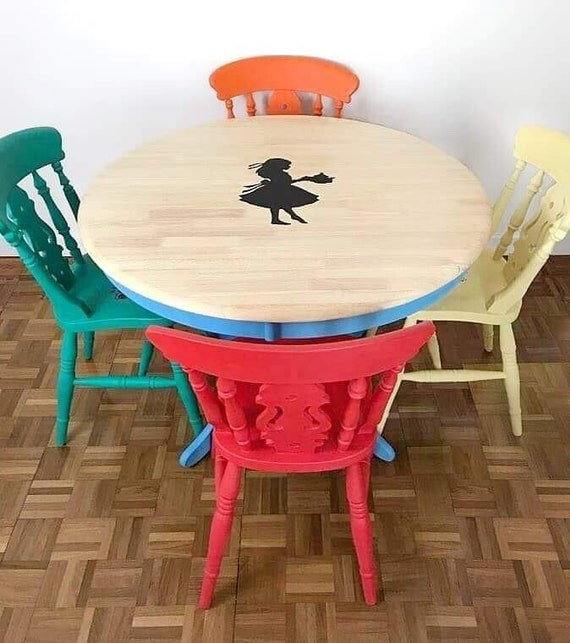 Amazing Bright Multi Coloured Dining Table And Chair Set Alice In Wonderland Table And Four Chair Set Creativecarmelina Interior Chair Design Creativecarmelinacom