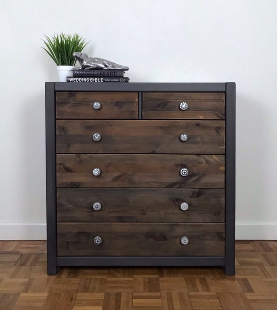 new arrival 75ee7 7d043 Dark Grey and Natural Wood Chest of drawers, Hand Painted Grey Bedroom  furniture, Solid wood bedroom drawers