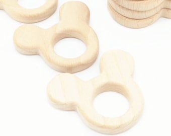 Minnie mickey natural wooden teething ring