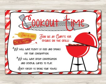 6x4 cookout invitation card editable template card party invitation