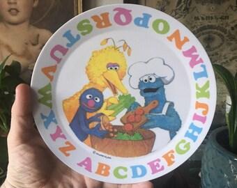 """Sesame Street 8"""" Plate (Vintage - Plastic)"""