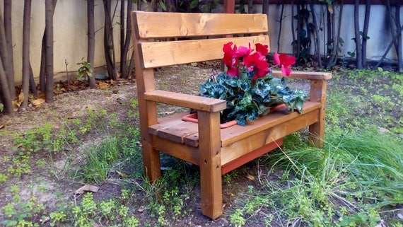 Wooden Bench Cesia From Outside And Inside Etsy