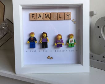 Hand made, personalised lego family picture in wooden box frame