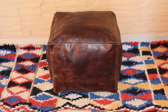 BEST OFFER 20/% OFF !! Free Shipping Moroccan handmade pouf ottoman square footstool leather light tan poufs