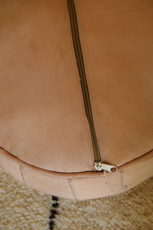 2 Moroccan leather ottoman round pouf natural & white