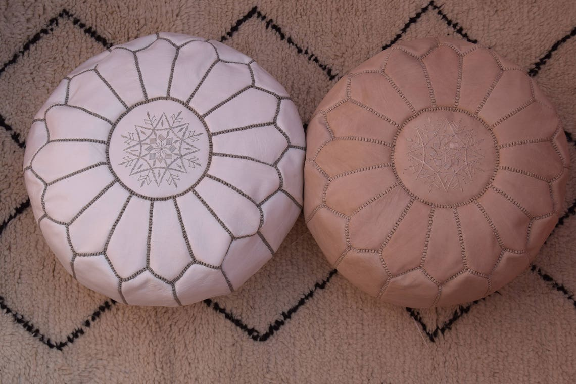 2 Moroccan leather, ottoman round pouf, natural & white  handmade footstool