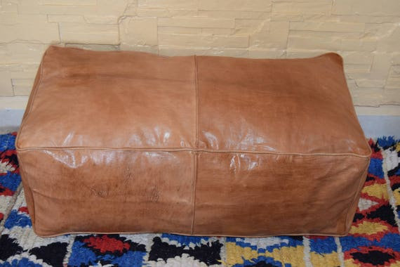 Free Shipping Moroccan leather natural oiled handmade footstool BEST OFFER 20/% OFF !! ottoman rectangular pouf