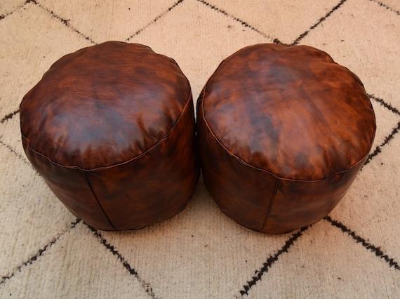 Sensational Set 2 Moroccan Poufs Footstool Handmade Ottoman T Pouf Round Leather Ottoman Round Dark Tan Pouf Best Deals Poufs Moroccan Decor Alphanode Cool Chair Designs And Ideas Alphanodeonline