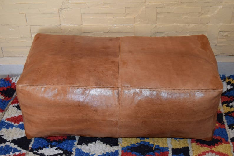 Incredible Moroccan Leather Ottoman Morocco Decor Rectangular Pouf Morocco Pouf Light Tan Handmade Footstool Dimensions 58 Inch 32 Inch 18 Inch Ibusinesslaw Wood Chair Design Ideas Ibusinesslaworg