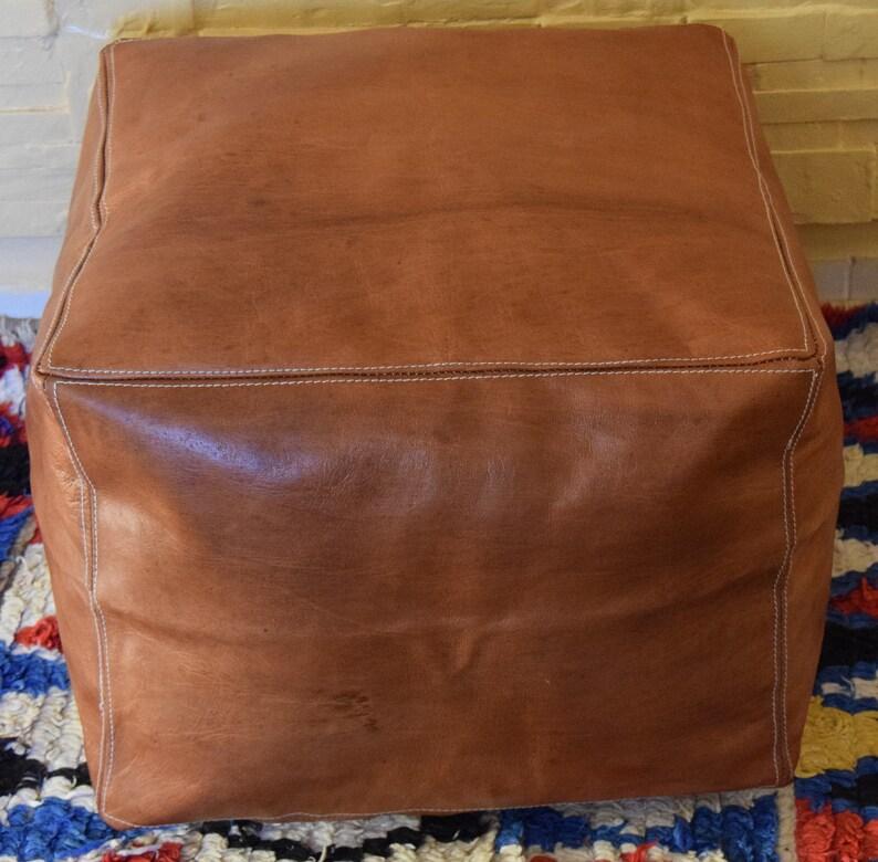 Amazing Moroccan Leather Ottoman Square Light Tan Pouf Square Handmade Footstool Dimensions 76 Cm 76 Cm 30 Cm Evergreenethics Interior Chair Design Evergreenethicsorg