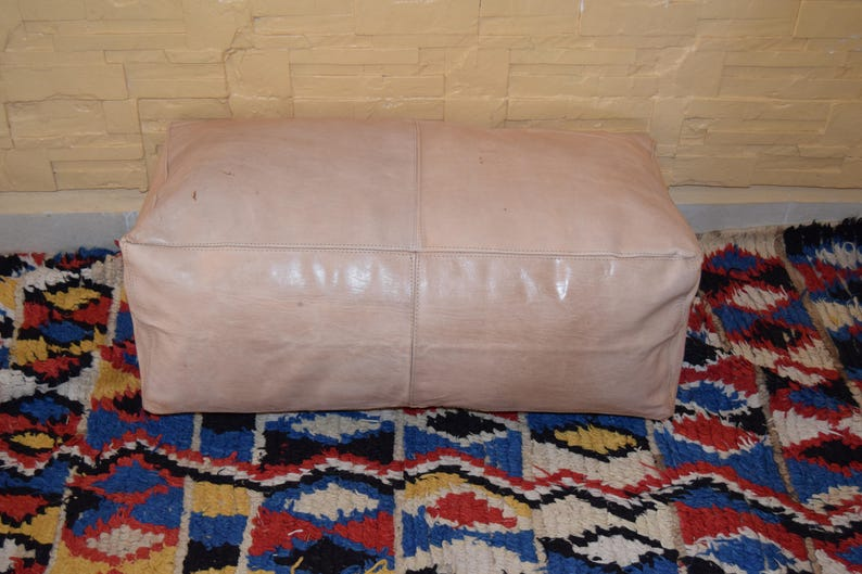 Fair Trade Turquoise Leather Pouffe Footstool New Handmade Marrakesh Morocco