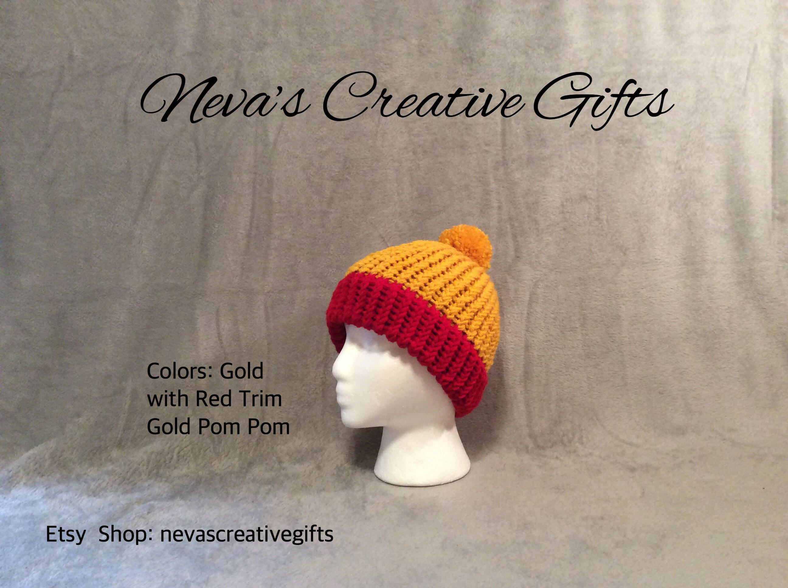 c6032edc8a6 GOLD with RED TRIM with Your Choice of Pom Pom Warm Winter