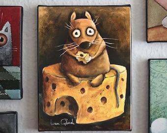 Mouse with cheese, Wall Art, Modern Art, rat,  Ivan Glock - berlin  - Giclée print -