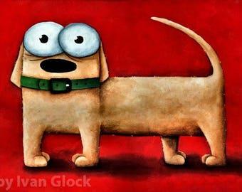 Dog , Dog Drawing, Cute Dog, Dog cartoon, Dog Illustration, Dog Print