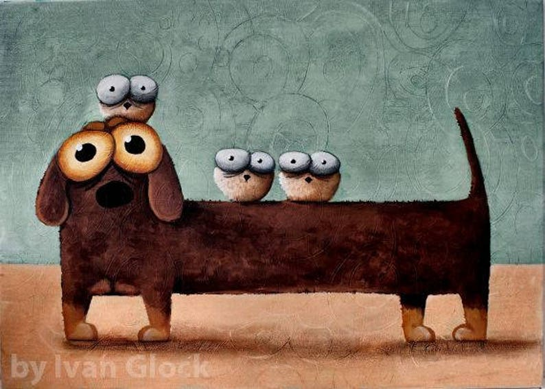 Bassotto cane cane sveglio bassotto cartoni animati etsy