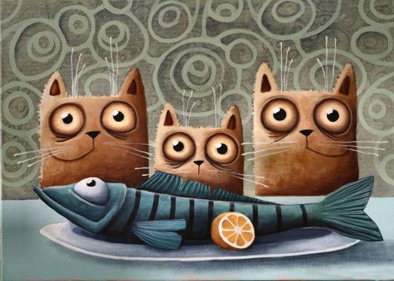 Katzen Essen Fisch Cats Eat Fish Cat Print Cat Art From Etsy