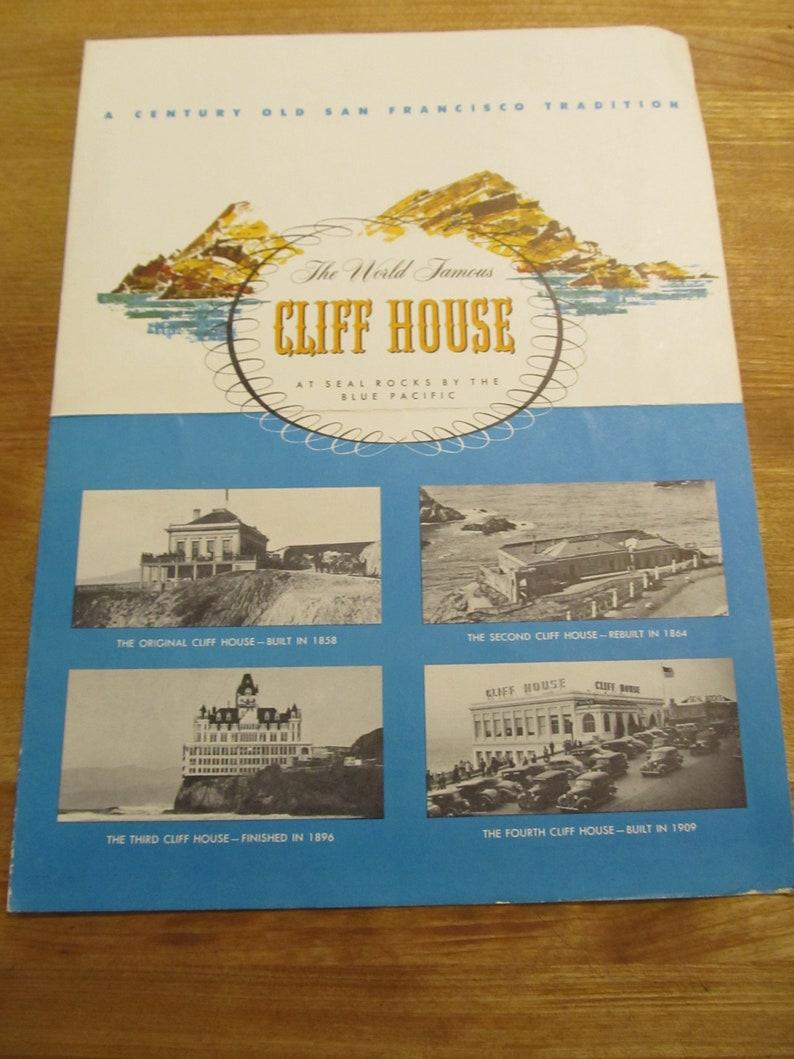 Vintage San Francisco Cliff House Souvenir Menu