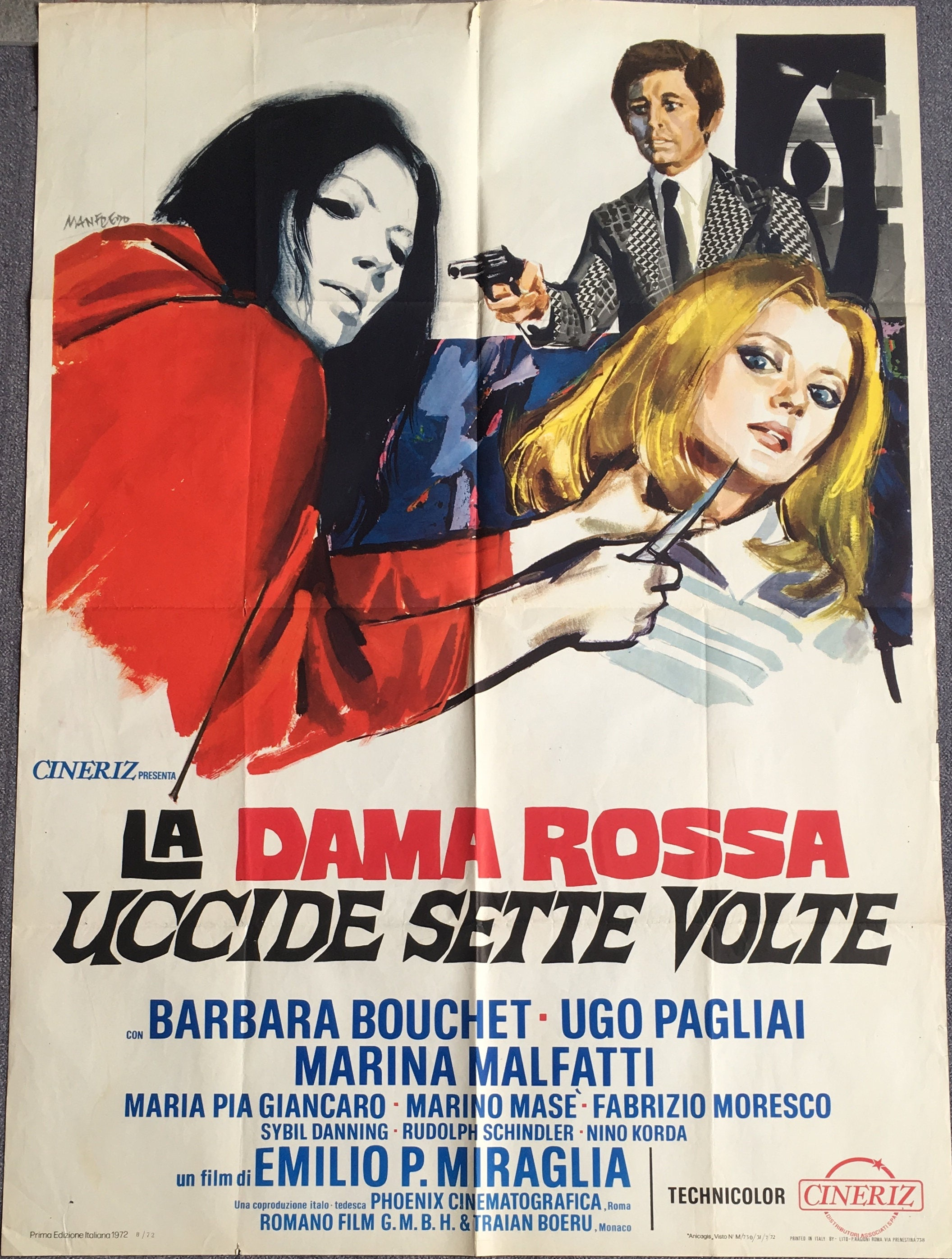 Italian movie poster La dama rossa uccide sette volte The Red | Etsy
