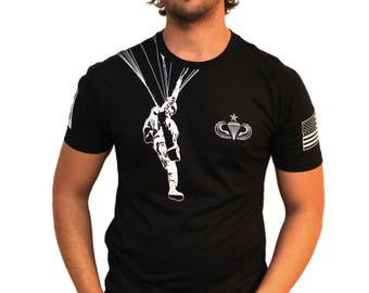 Airborne Paratrooper Tshirt With Your Choice Of (Unit Patch, Type of Jump Wings)