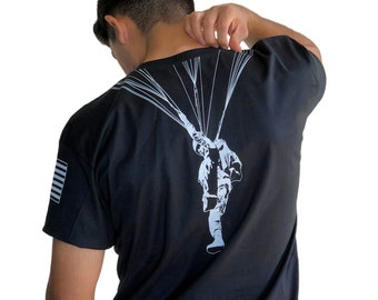 AIRBORNE PARATROOPER Back Print T-shirt (Additional Options: Sleeve Patch Prints and Jumpwings on front)