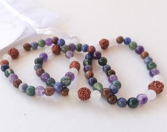 Matching Amethyst Bracelet | Sodalite Rudraksha Moss Agate Bracelet | Beaded bracelet | Mala Bracelet | Gemstone Bracelet | Natural Stone