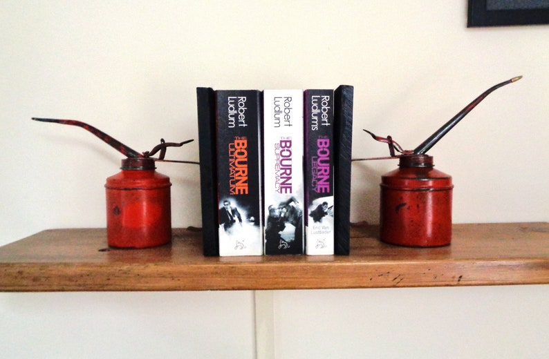 Vintage oil cans made into an unusual set of Bookends