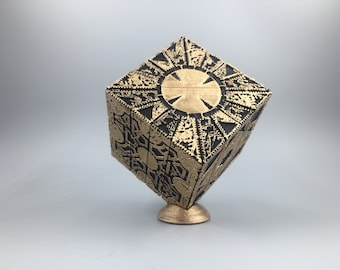 Hellraiser puzzle box with display stand 1:1 replica moving lament configuration to star configuration pinhead puzzle box