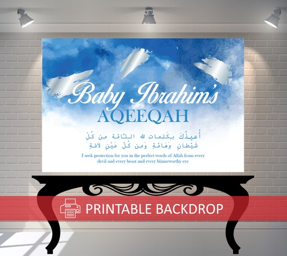 Watercolour Watercolor Blue Silver Backdrop Aqiqah Christening Birthday Baby Shower Baby Boy Party Printable Downloadable