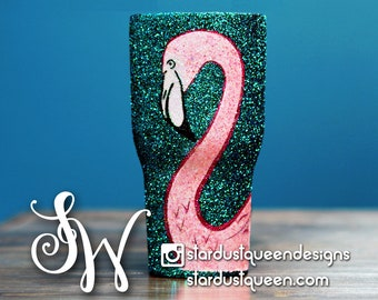 Flamingo Full Glitter Inlay Tumbler