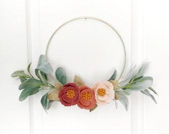 Modern Wreath   Felt Flower Wreath   Gold Hoop Wreath   Nursery Decor   Minimalist Wreath   Floral Decor   Housewarming Gift   Wall Decor