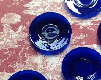 Seven plates in blue vintage glass Victorian