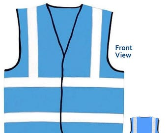 Sky Blue Hi Visibility Reflective Safety Vest Hi Viz Ideal for Printing or Embroidery Great for Riding Walking or Running
