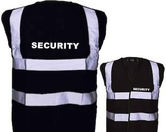 Black SECURITY Hi Visibility Reflective Safety Vest Hi Viz Ideal for Security Personnel Printed SECURITY Front and Back