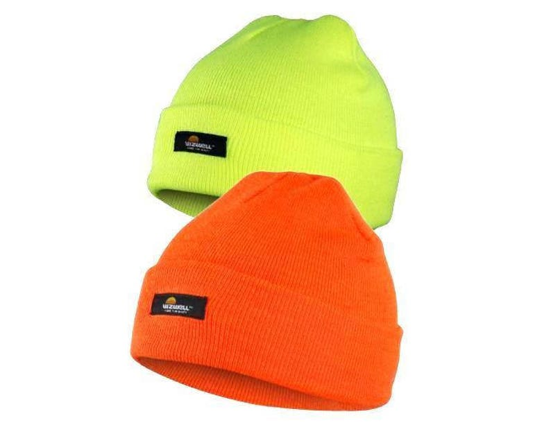 f0466f903 Hi Visibility Yellow & Orange Thinsulate Lined Adult Beanie Hats Ideal For  Embroidery