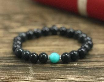 Beaded Bracelet, Yoga Bracelet, Yoga Beads, Beaded Bracelets for Women, Turquoise Bracelet, Black Bracelet