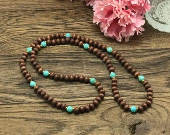 Mothers Day Necklace, Beaded Necklace, Wood Necklace, Mothers Day Gift, Wooden Necklace, Mothers Day Jewelry, Wood Bead Necklace