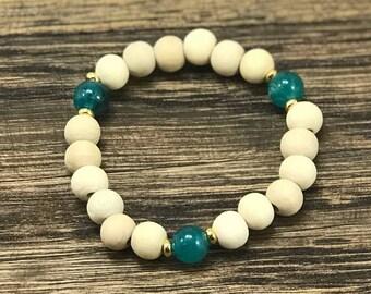 Wood Bead Bracelet | Sea Blue Stackable Bracelet, Wooden Bracelet, Blue Bead Bracelet, Bohemian Stack Bracelet | Yoga Jewelry For Less