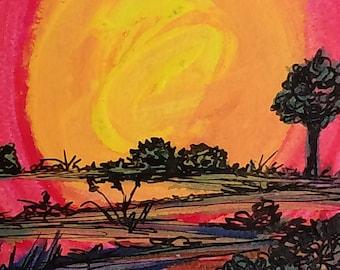 Sunrise Path // Horizon, Path,Acrylic Original painting,Pen,Sketch,Landscape Art,Contemporary,Red,magenta,yellow,blue, bright way,Home Decor