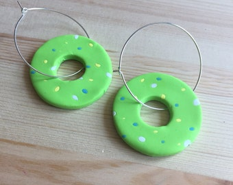 Green Donut Hoop Earrings // Colourful Earrings // Statement Earrings