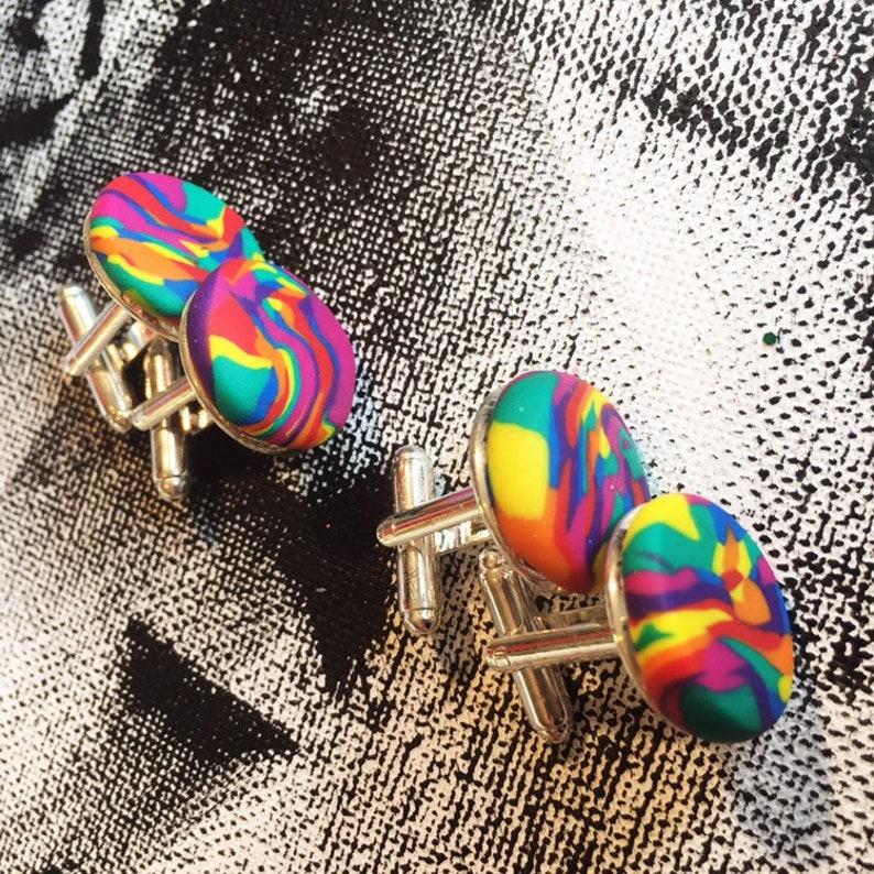 Rainbow Cufflinks  Gift for him  Christmas  Big Happy Designs  Bright bold polymer clay  secret santa  lgbtq  stocking filler  quirk