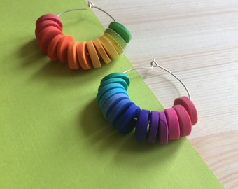 Rainbow Ombré Hoop Earrings // Colourful Earrings // Statement Earrings