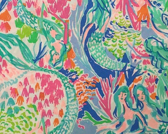 "Lilly Pottery Barn Mermaid Cove Fabric 18"" Square or By The Yard"