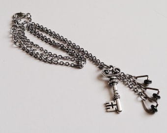 Key Charm Necklace with Hematite/Crystal