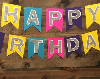 Happy Birthday/ Birthday Banner/ Colorful Banner/ Party/ Birthday Decor/ Bright Colors/ Glitter