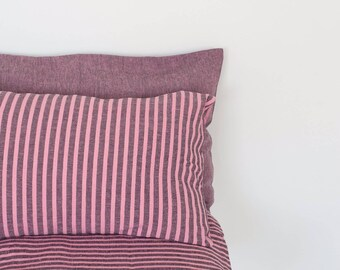 Pink striped linen pillowcase, linen pillow cover, natural linen bedding, linen pillow, stonewashed linen, sustainable. Made in Europe