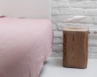 Onthard linnen vlakke plaat, hout steeg. Vlakke linnen bed sheet, natuurlijke linnen beddengoed, single, double, koningin, koning, grootte, linnen beddengoed baby
